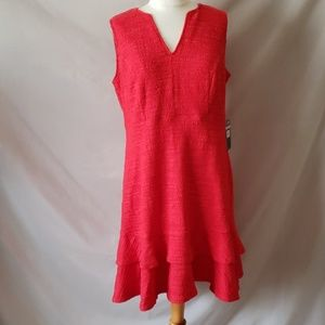 Sharagano Knit A-Line Red Dress